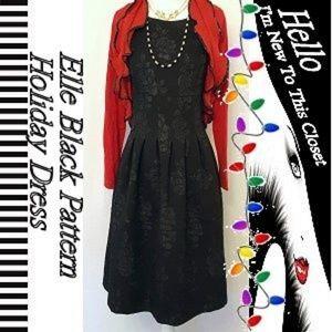 Elle Black on Black Rose Holiday Dress-Size 6
